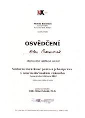 2012 - Osvědčení - Smluvní závazkové právo a jeho úprava v novém občanském zákoníku