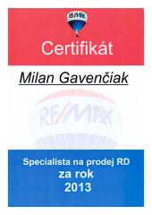 2013 - Specialista na prodej RD za rok 2013